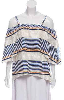 Tanya Taylor Striped Off-The-Shoulder Top w/ Tags