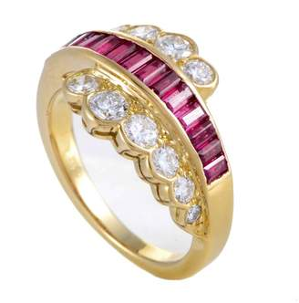 Van Cleef & Arpels 18K Yellow Gold Diamond & Ruby Ring Size 5.75