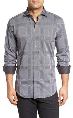 Bugatchi Slim Fit Microstripe Plaid Sport Shirt