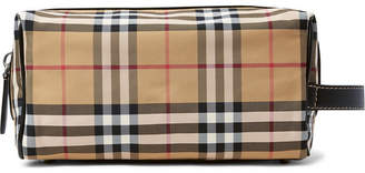 Burberry Leather-Trimmed Checked Nylon Wash Bag - Men - Tan