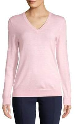 Lord & Taylor V-Neck Merino Wool Sweater