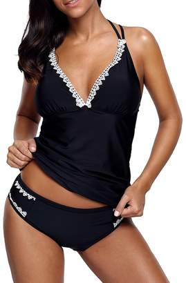 Là Vestmon Women's Sexy Lace Halter Tummy Control Swimsuit Cami Top Two-Piece Tankini Swimwear