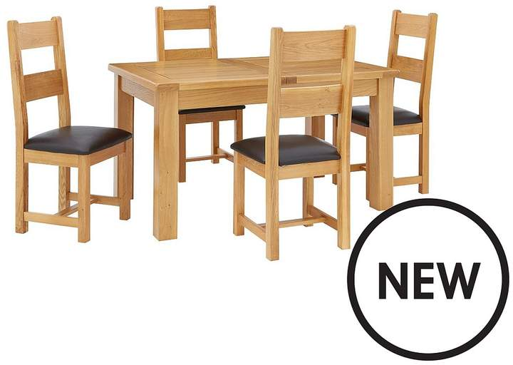 Oakland 140 - 180 Cm Solid Wood Extending Dining Table + 4 Oakland Chairs