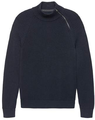 Banana Republic Cotton Asymmetrical Half-Zip Sweater