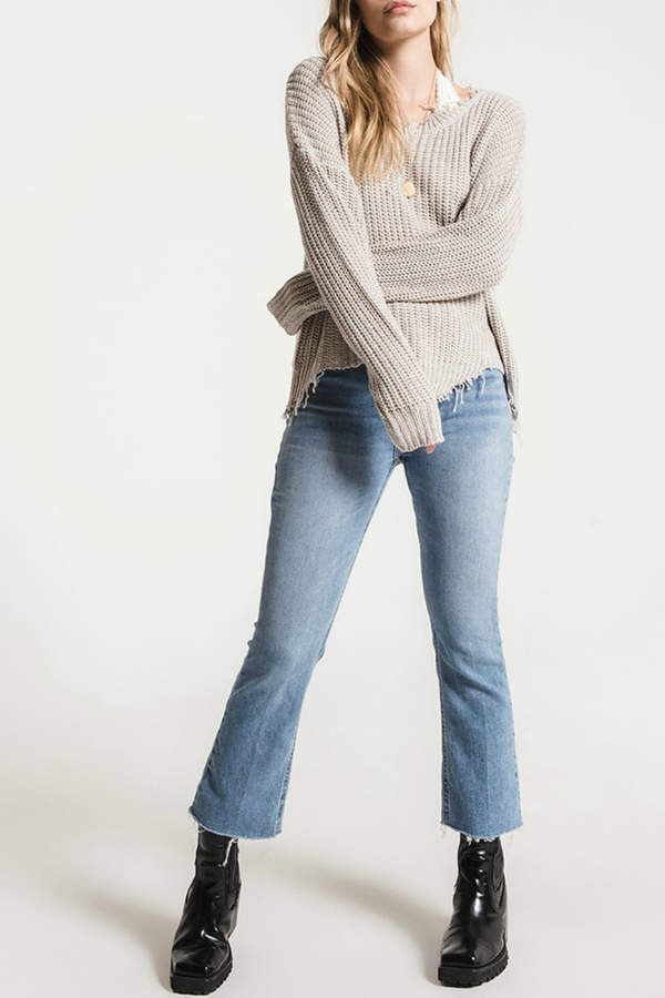 White Crow Valle Distressed Neck & Hem Sweater