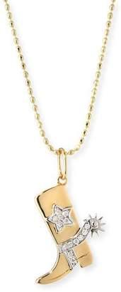Sydney Evan 14k Diamond Cowboy Boot Pendant Necklace