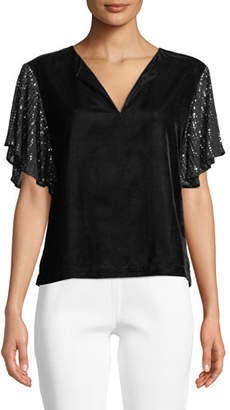 Velvet Tibby V-Neck Top with Sequin Sleeves