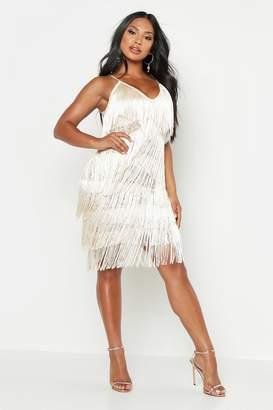 boohoo All Over Tassle Sheer Lace Midi Dress