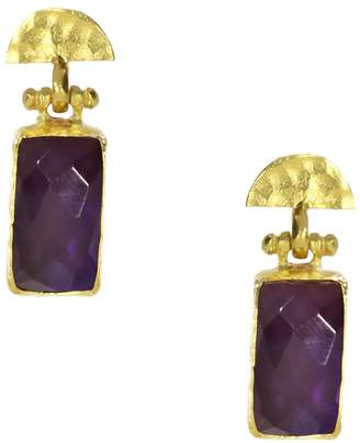 Ottoman Hands - Amethyst Rectangle and Semicircle Drop Earrings
