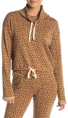 Alternative Drawstring Leopard Print Funnel Neck Pullover