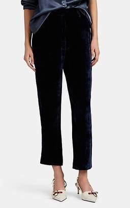 Sies Marjan Women's Willa Silk-Cotton Corduroy Crop Trousers - Navy