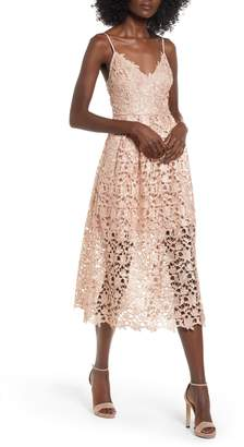 ASTR the Label Metallic Lace Midi Dress