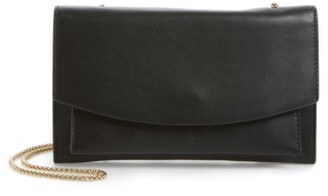 Skagen Eryka Leather Envelope Clutch With Detachable Chain - Black $155 thestylecure.com