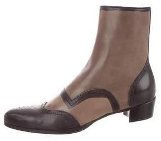 Miu Miu Leather Brogue Ankle Boots w/ Tags