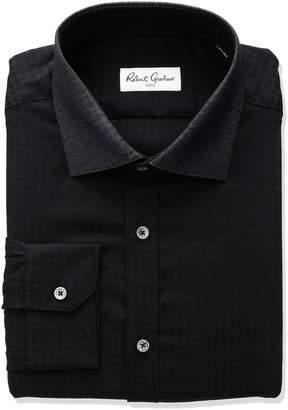 Robert Graham Men's Regular Fit Solid Jacquard Spread Collar Dress Shirt