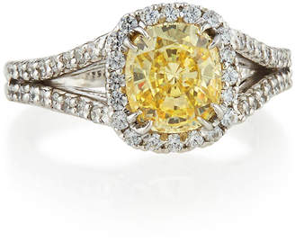 FANTASIA Split-Shank Pave Cushion-Cut Ring, Canary