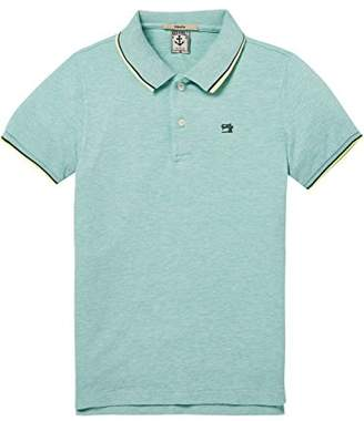 Scotch & Soda Shrunk Boy's Cotton Elastane Polo with Colourful Tipping Shirt