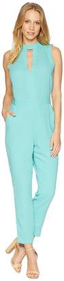 Bebe Keyhole Mock Tapered Leg Jumpsuit Women's Jumpsuit & Rompers One Piece