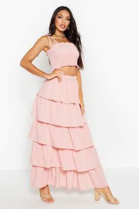 boohoo Shirred Bandeau & Ruffle Maxi Skirt Co-Ord