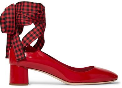 Miu Miu - Lace-up Patent-leather Pumps - Red