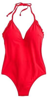 J.Crew Ruffle halter one-piece swimsuit in piqué nylon