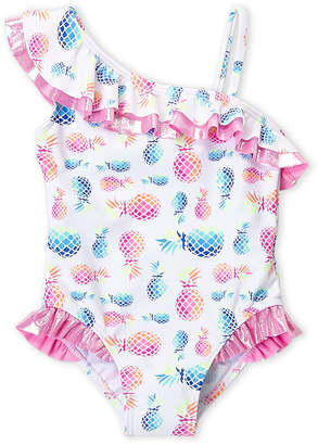 Flapdoodles Girls 4-6x) One-Piece Pineapple Ruffe Swimsuit