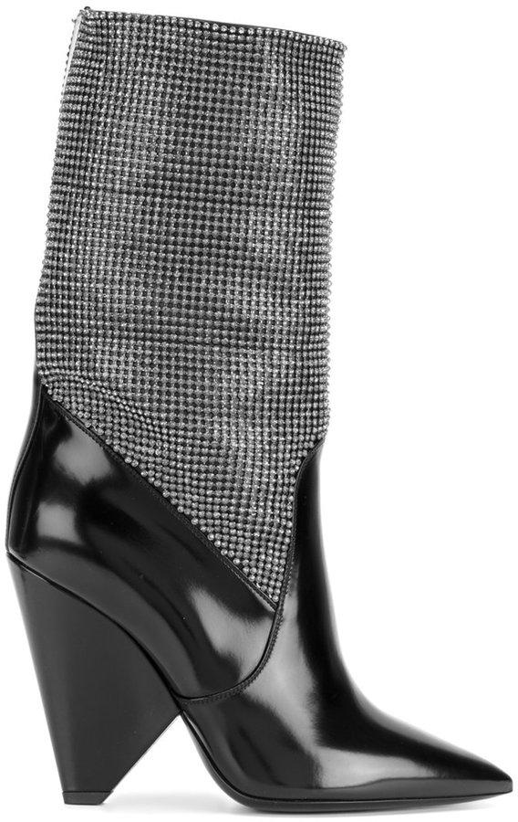 Saint Laurent Niki chainmail boots
