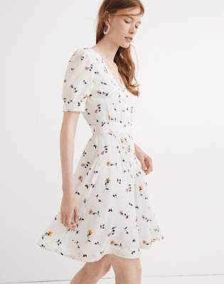 Madewell Daylily Pintuck Dress in Sweet Blossoms
