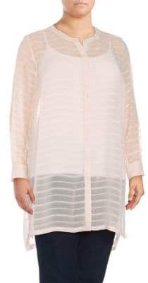 Vince Camuto Plus Sheer Embroidered Stripe Tunic