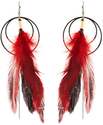 Nakamol Long Double-Circle Feather Drop Earrings