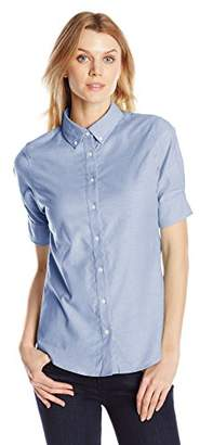 Dockers Women's Short-Sleeve Button-Front Oxford Shirt $24.45 thestylecure.com