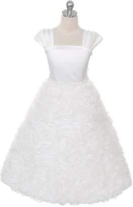 Kids Dream Hailey- Rosette Skirt Sleeve Dress Ivory