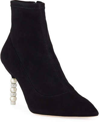 Sophia Webster Coco Suede Crystal and Pearly Booties