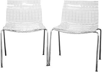 Baxton Studio Obbligato Transparent Acrylic Accent Chair 2-piece Set