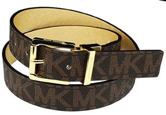 Michael Kors Brown Tan Signature Reversible Gold Leather Size Belt