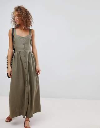 Asos DESIGN Linen Button Through Maxi Dress
