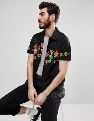 Schott Wind Vahine Short Sleeve Hula Girl Print Shirt in Black