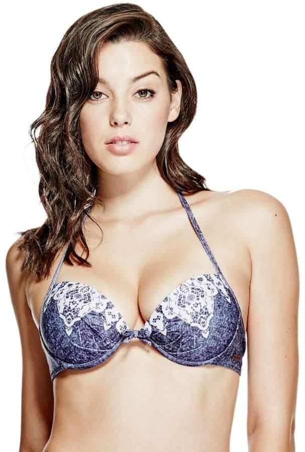 GUESS Denim and Lace Push-Up Bikini Top