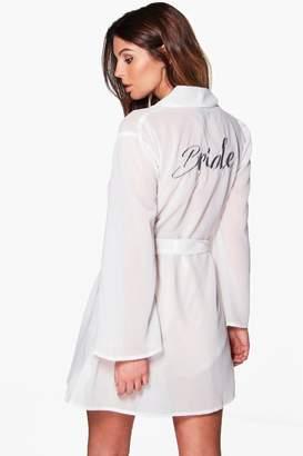 boohoo Sheer Bride Embroidered Kimono Robe