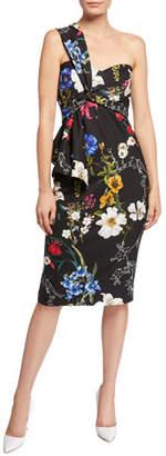 Parker Kysha One-Shoulder Floral-Print Stretch Crepe Cocktail Dress w/ Flounce Detail