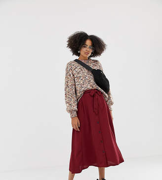 Monki midi skirt with wrap belt and buttons in burgundy
