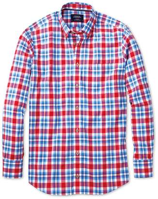 Charles Tyrwhitt Classic Fit Button-Down Poplin Sky Blue and Red Check Cotton Casual Shirt Single Cuff Size XXL