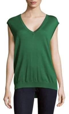 Prada Canotta Short Sleeve Wool Blouse