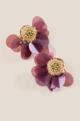 francesca's Lerina Sequin Floral Stud Earrings - Purple