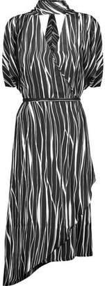 Raoul Metropolis Asymmetric Silk-Twill Wrap Dress