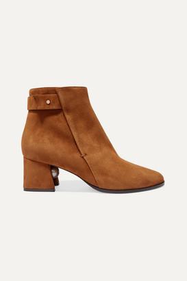Nicholas Kirkwood Miri Faux Pearl-embellished Suede Ankle Boots - Brown