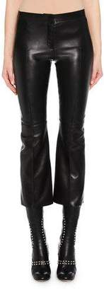 Alexander McQueen Kickback Stretch-Leather Cropped Pants