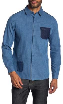 NATIVE YOUTH Bering Denim Patchwork Trim Fit Shirt