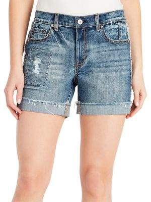 Jessica Simpson Distressed Denim Midi Shorts