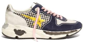 Golden Goose Running Sole Gingham And Suede Low Top Trainers - Womens - Black Multi
